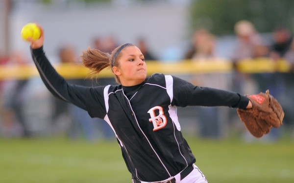 Brewer's Alexa Grindle pitches during the game against Bangor in Brewer Monday.