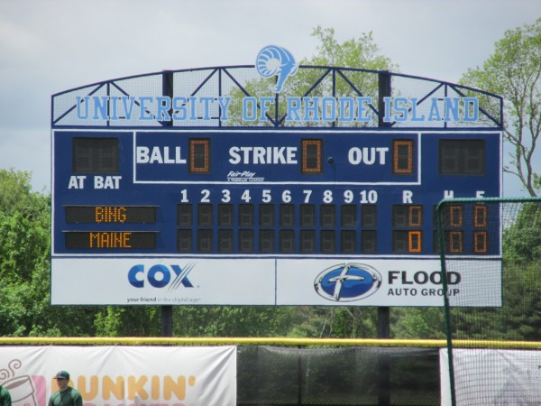 The scoreboard at the University of Rhode Island's Bill Beck Field, site of Sunday's America East baseball championship game between the University of Maine and Binghamton University.