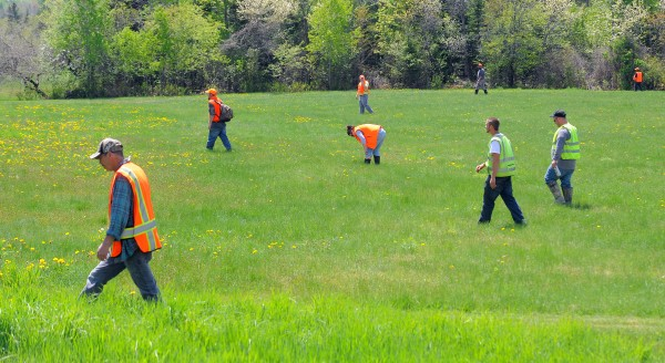 A team of searchers walks across a field in Hudson looking for clues in the disappearance of Nichole Cable, 15, of Glenburn.