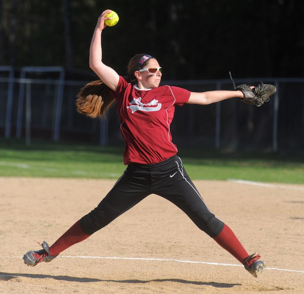 Mattanawcook Academy's Nicole Ryder pitches during a game against Calais in Lincoln Monday.
