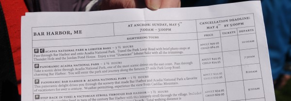 The cruise ship Veendam's excursion schedule shows a 27-mile trip through Acadia National Park as one of its offerings on Sunday. Passengers were sent an email by cruise officials earlier letting them know that most of Acadia National Park was not yet open and they would receive a refund if they had booked a excursion into the park.