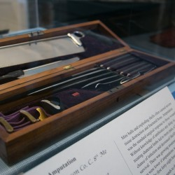 A Civil War-era full amputation kit is on display at the Bangor museum on Thursday. 'Bullets and Bandages' is a new exhibit at the museum that focuses on the weapons and medical practices of the Civil War.