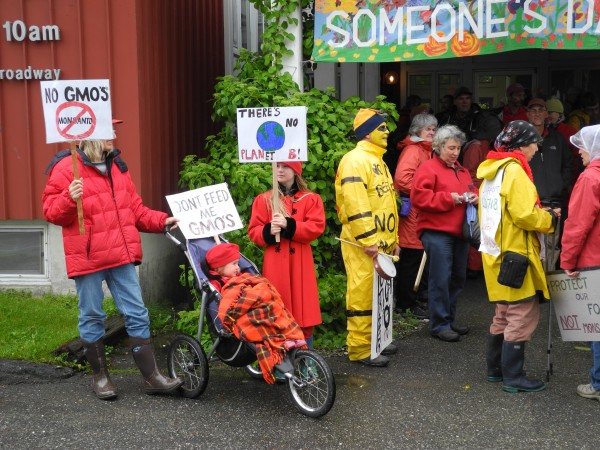 Anti-Monsanto activists gather Saturday afternoon at the First Universalist Church in Rockland before taking to the streets in a march against the agribusiness company and genetically modified food. &quotWe need clean food for all of us,&quot said Liz Coldren of Camden.