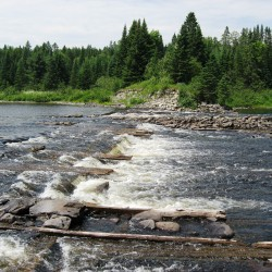 The site of the Long Lake Dam on the Allagash Wilderness Waterway, as it appears now.