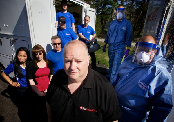 William York (center) and his team at BioSpecialists LLC in Gorham are experts at tragedy and crime scene cleanup.