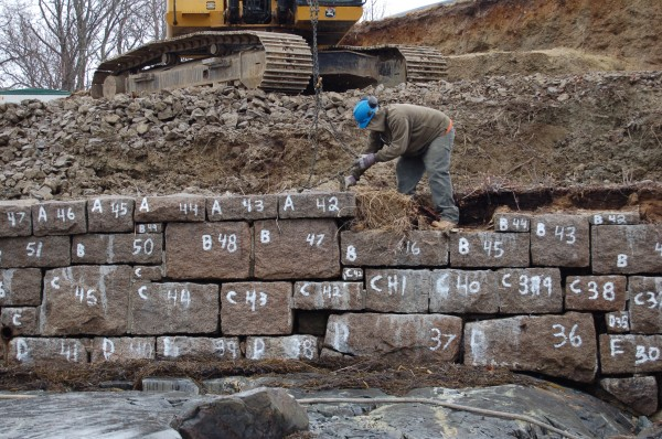 Construction workers had to battle the cold and tides this winter and spring as they took apart and rebuilt a more than century old sea wall in Bar Harbor. Every original stone was numbered before being removed so they could be reused in the rebuilding effort.