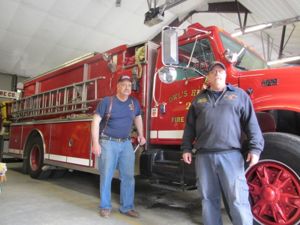Owls Head Fire Chief Frank Ross (left) and Medical Officer Eliott Scott are seeking new members to join the department.