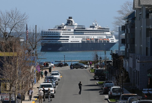 The cruise ship Veendam sits in Bar Harbor on Sunday, May 5, 2013. The ship's first stop on its tour leaving from Boston was Bar Harbor.