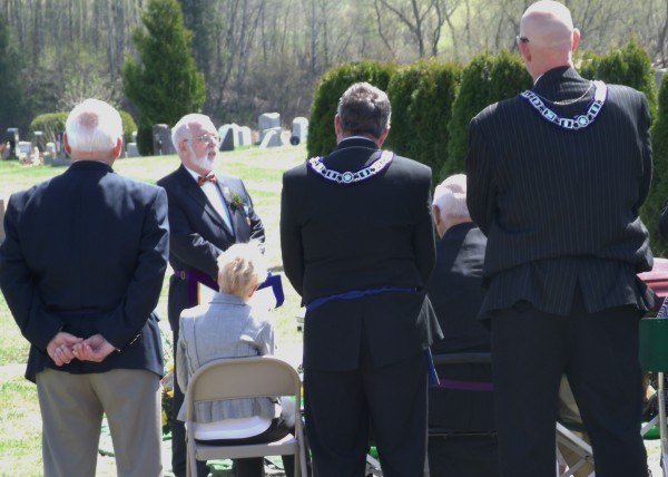 Richard Rhoda (center) a Mason affiliated with Monument Masonic Lodge, Houlton, performs Masonic Burial Rights on Monday, May 6, 2013 for former Gov. John H. Reed. Reed died of pneumonia at the age of 91 on Oct. 31, 2012.
