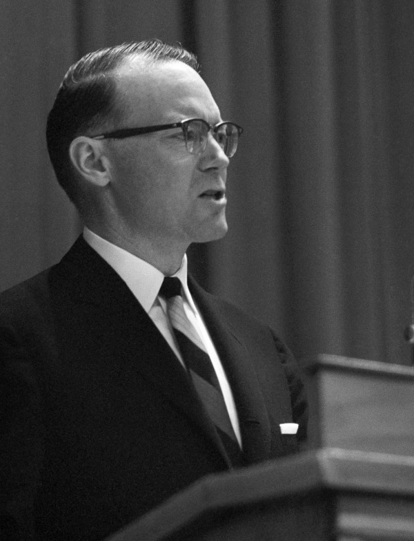 In this Dec. 11, 1963 file photo, Gov. John H. Reed of Maine speaks before the Agriculture department in Washington. Reed was Maine's first governor to be elected to a four-year term.