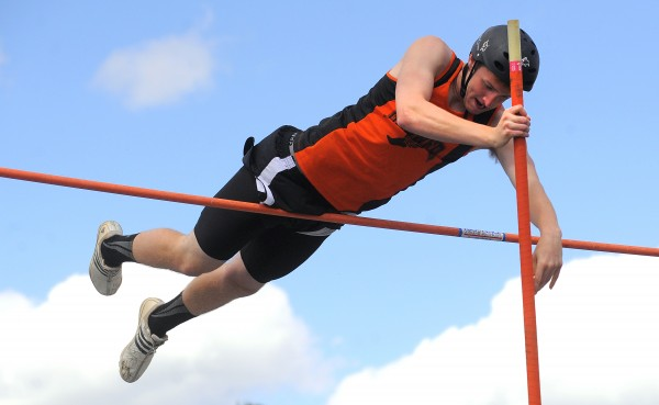 Brewer's Alec Wortman clears the 13 foot height in the boys pole vault during the PVC Class B Track and Field Championship in Brewer Monday. Wortman won the event.