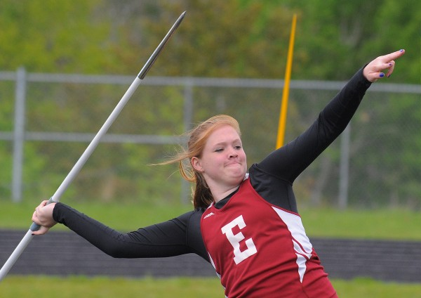 Ellsworth's Tori Huntley won the girls javelin during the PVC Class B Track and Field Championship in Brewer Monday. Huntley's winning throw was 110 feet even.