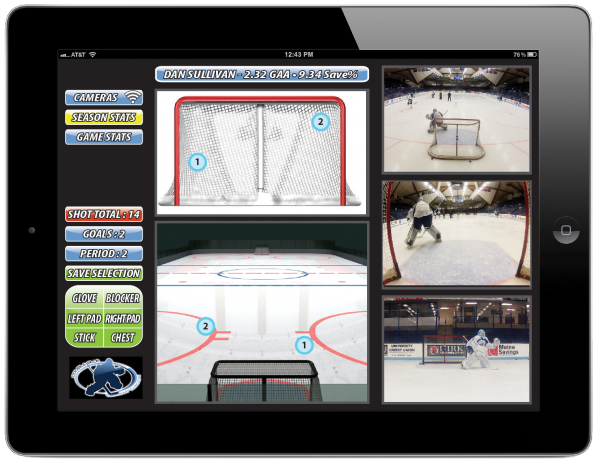 Double Blue Sports Analytics is an in-depth analysis system designed to monitor a goalie's play, which enables the goalie to break down his strengths and weaknesses.