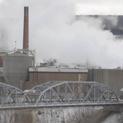 A view from Edmundston, New Brunswick, of the papermaking mill in Madawaska in 2011.