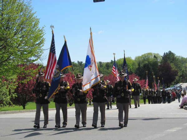 Color guards from numerous law enforcement agencies across Maine paraded into a ceremony memorializing fallen officers on Thursday, May 16, 2013, in Augusta.