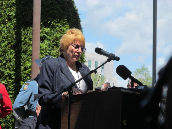Maine Attorney General Janet Mills speaks during a ceremony on Thursday, May 16, 2013, in Augusta, to memorialize the 83 Maine law enforcement officers who have died in the line of duty.