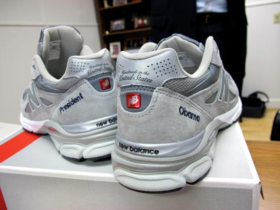 Rep. Mike Michaud gave this pair of New Balance sneakers made in Maine to President Barack Obama as part of an effort to require the U.S. military to purchase athletic footwear made in the country.