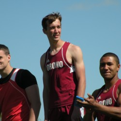 Michael Poulin (left) of Dexter, David Frederick (center) of Orono and Norton Revell of Orono stand on the podium after receiving their medals in the javelin throw in the Penobscot Valley Conference Small School Track and Field Championships at Foxcroft Academy in Dover-Foxcroft on Monday, May 27, 2013.
