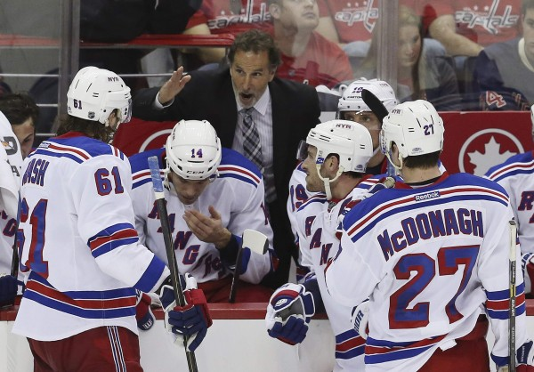 New York Rangers head coach John Tortorella instructs his team during a team out against the Washington Capitals in the first overtime period of Game 2 of their NHL Eastern Conference quarterfinal hockey playoff game in Washington May 4, 2013.