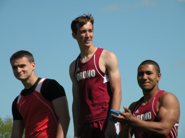 Michael Poulin (left) of Dexter, David Frederick (center) of Orono and Norton Revell of Orono stand on the podium after receiving their medals in the javelin throw in the Penobscot Vslley Conference Small School Track and Field Championships at Foxcroft Academy in Dover-Foxcroft on Monday, May 27, 2013. Frederick won with a throw of 143 feet, 8 inches. Poulin was second at 138-11, and Revell third at 138-5. Frederick also set a PVC record in the pole vault at 13-9.