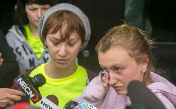 Jessica Brideau (left) and Ashley Pattershall, friends of Nichole Cable, speak to media outside the Penobscot Judicial Center after the arraignment hearing of Kyle Dube on Wednesday, May 22, 2013. Dube is charged with the murder of 15-year-old Cable. Dube did not enter a plea and the judge ordered him to be held without bail.