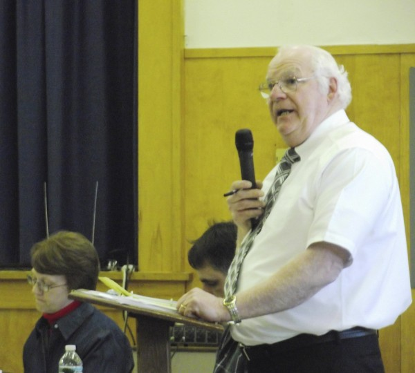 Ray Freve answers questions from the audience about financial data related to the possible closure of Wellington School in Monticello in this 2011 photo. The RSU 67 board of directors voted on May 24, 2013, to appoint Freve as interim superintendent to replace Denise Hamlin, who resigned on April 24, 2013.