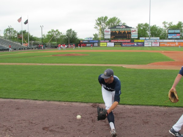 Luke Morrill of South Thomaston chases down a ground ball while practicing in anticipation of Wednesday's America East tournament baseball game at Lowell, Mass.