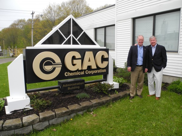 David Colter, left, the newly-named CEO of GAC Chemical Corp. in Searsport, stands next to James Poure, the chairman and founder of the manufacturing organization.