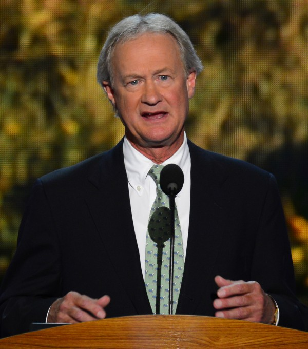 Gov. Lincoln Chafee of Rhode Island speaks at the 2012 Democratic National Convention in Charlotte, N.C., on Sept. 4, 2012. Chafee has gone from Republican to independent and now is switching to the Democratic Party.