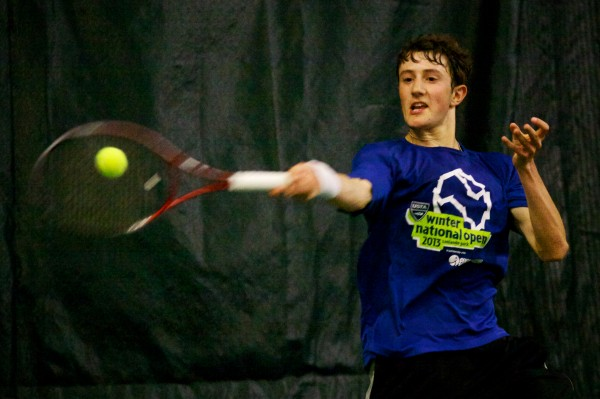 Jordan Friedland of Lincoln Academy returns a volley in the finals match at the Maine Principals Association Singles Tennis Championship at the Racket and Fitness Center in Portland on Wednesday.