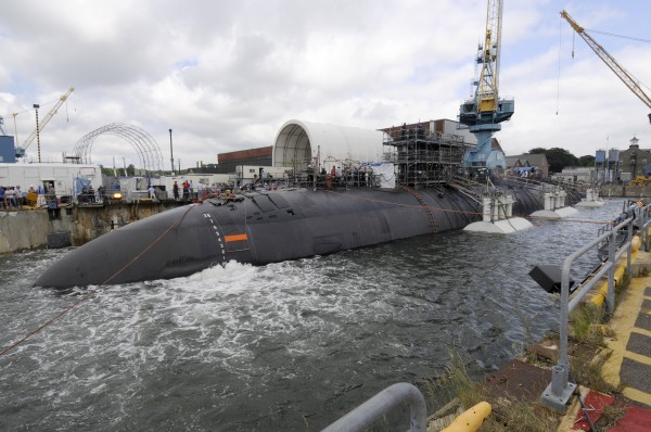 Shipyard workers at Portsmouth Naval Shipyard successfully undock the Los Angeles-class submarine USS San Juan one day early from a routine engineered overhaul in February.