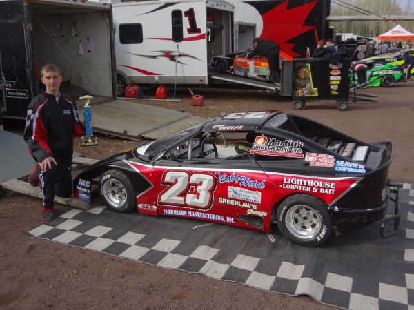 Drew Greenlaw of Eastport won his first career feature race Saturday in the Bandolero division at Petty Raceway in Petitcodiac, New Brunswick. The 15-year-old is the only American driver his division.