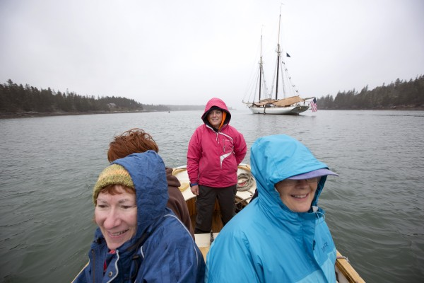 First mate Rebecca Johnson shuttles passengers to shore from the Mary Day's evening anchorage off Isle Au Haut, Maine.
