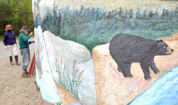 Nancy and Abbott Meader of Oakland will stop maintaining an original mural on Pockwockamus Rock about a mile from the south gate to Baxter State Park this year.