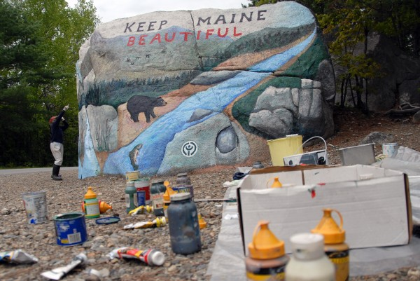 Nancy (left) and Abbott Meader of Oakland will stop maintaining an original mural on Pockwockamus Rock about a mile from the south gate to Baxter State Park this year.