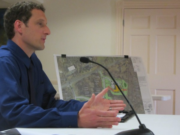 Paul Monyok, an engineer with WBRC Architects and Engineers of Bangor, discusses plans for a hospice house on the grounds of Pen Bay Medical Center in Rockport.