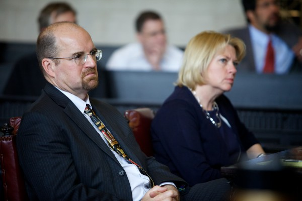 Maine Assistant District Attorneys Donald Macomber and Lisa Marchese listen Tuesday at the Maine Supreme Judicial Court in Portland to defense arguments in the appeal of Jeffrey Cookson.