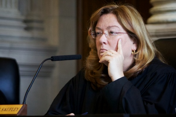 Chief Justice Leigh I. Saufley of the Maine Supreme Judicial Court listens Tuesday in Portland to arguments in the appeal of Jeffrey Cookson.