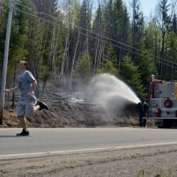 Sparks created while mowing touch off second grass fire in two weeks at Aroostook County farm