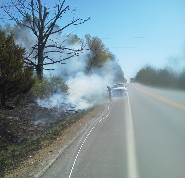 Maine Forest Rangers and Sebec firefighters quickly extinguished a brush fire on the Milo Road Monday morning.