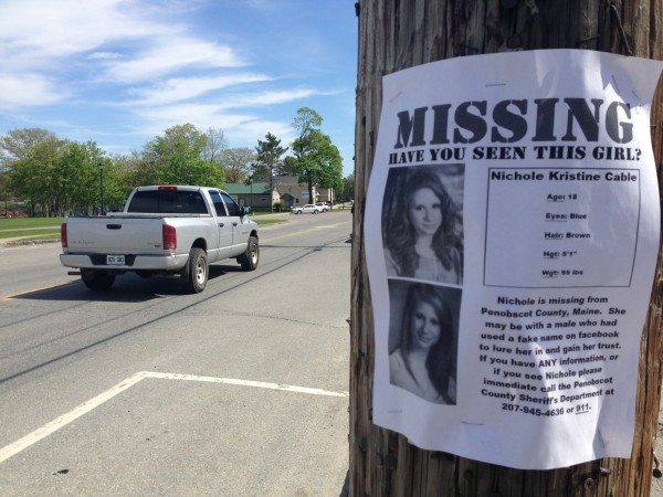 Fliers seeking missing teen Nichole Cable were posted on utility poles on Main Street in Old Town on Wednesday. Several businesses had similar fliers in their windows.
