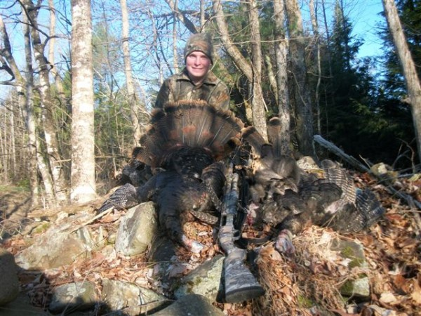 Logan Cyr, 13, of Madawaska, shows off the two turkeys he shot on April 27, 2013, while hunting in Corinth. Both birds weighed about 15 pounds.