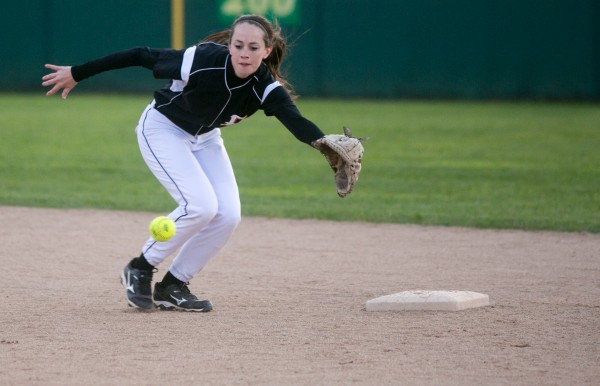 Brewer's  Lindsay Houp chases a ball hit to second base against Cony on Tuesday, May 28, 2013.