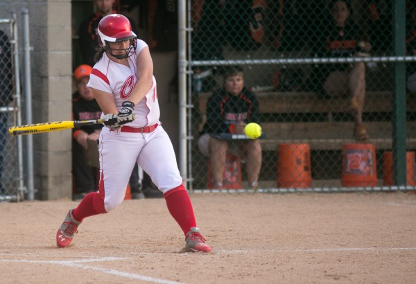 Cony's Veronica Wood swings at a pitch against Brewer on Tuesday, May 28, 2013.