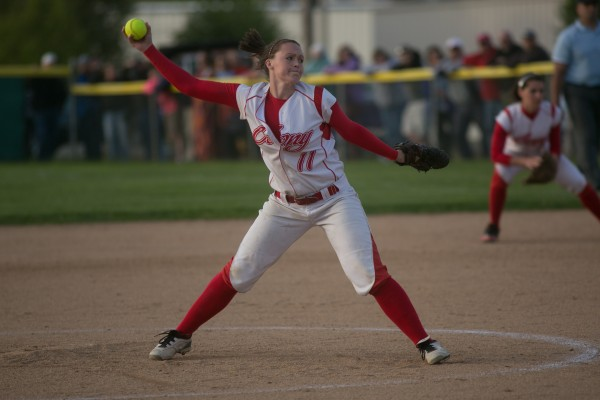 Cony's Sonja Morse throws a pitch against Brewer on Tuesday, May 28, 2013.