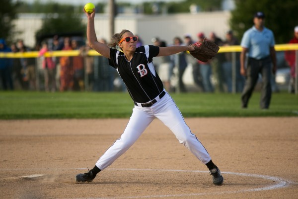 Brewer's Alexa Grindle throws a pitch against Cony on Tuesday, May 28, 2013.