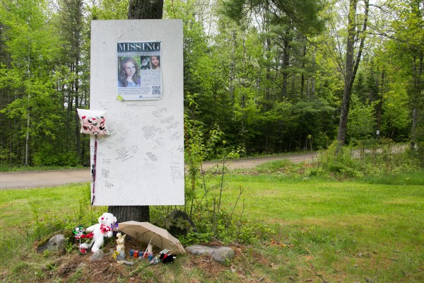 Community members left messages at a memorial dedicated to Nichole Cable near her home in Glenburn on Tuesday.
