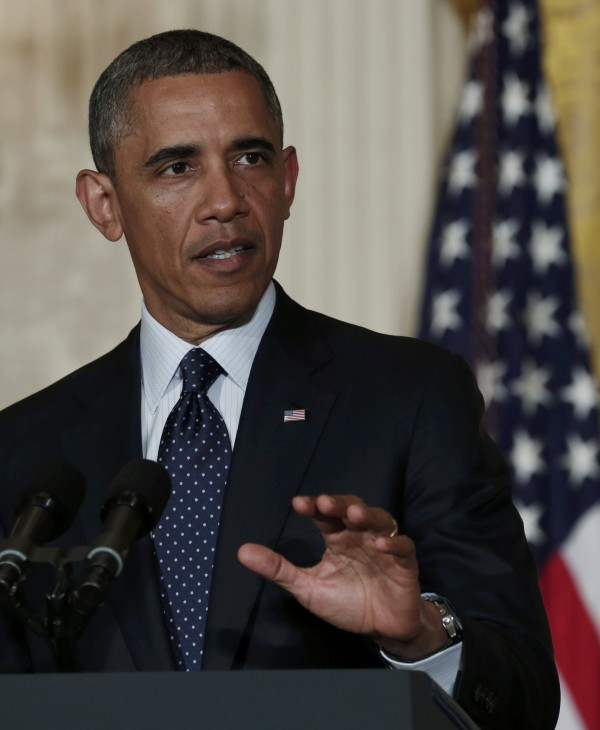 President Barack Obama delivers a statement from the East Room of the White House in Washington on Wednesday