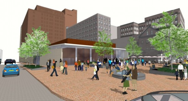This image, distributed by RockBridge Capital LLC and New Castle Hotels & Resorts, depicts the developers' latest proposal for redeveloping Portland's Congress Square Plaza. The plan would include using nearly 10,000 square feet of the plaza as event space for the renovated Eastland Park Hotel and leaving another 4,800 square feet as public gathering space.