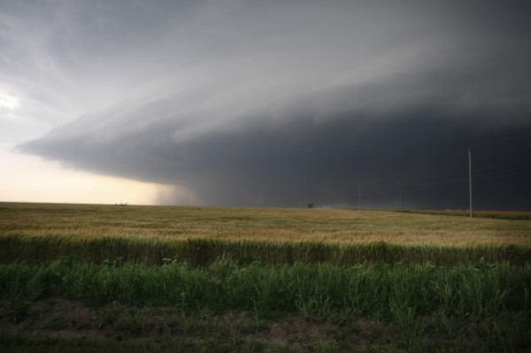 A large storm cell, which reportedly produced a multiple vortex tornado, passes south of El Reno, Okla., on Friday.